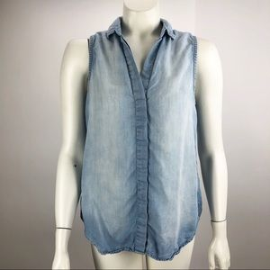 Anthropologie Cloth Stone Button Chambray Top S
